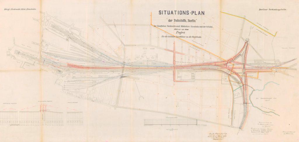 Farbiger Situationsplan der Märkischen Eisenbahn zeigt das Liniennetz