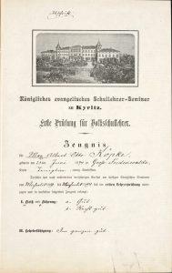Bild zeigt ein Zeugnis mit dem Bild des königlichen evangelischen Schullehrer-Seminars