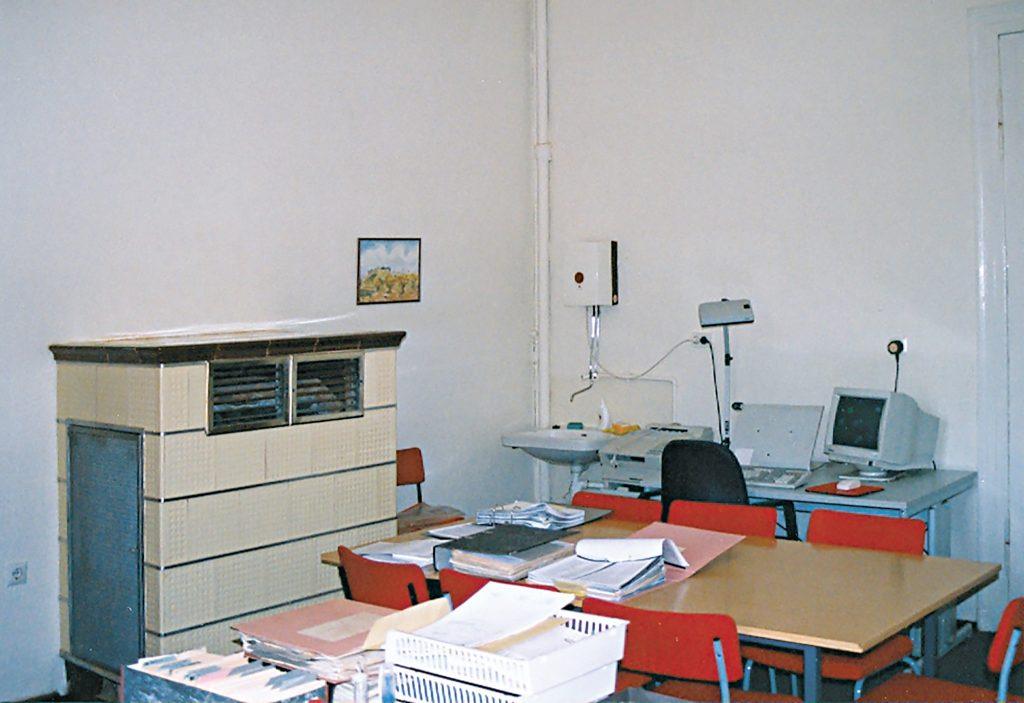 Ein Arbeitsplatz am alten Standort in der Orangerie um 1997