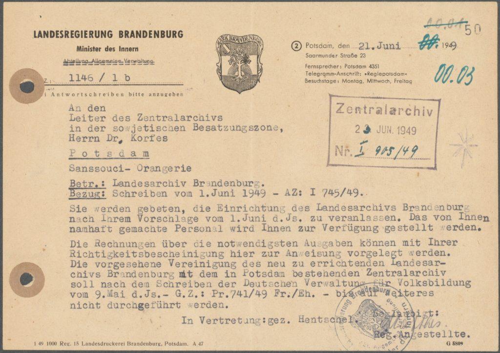 Schreiben des damaligen Innenministers über die Entscheidung, ein eigenes brandenburgisches Landesarchiv aufzubauen.