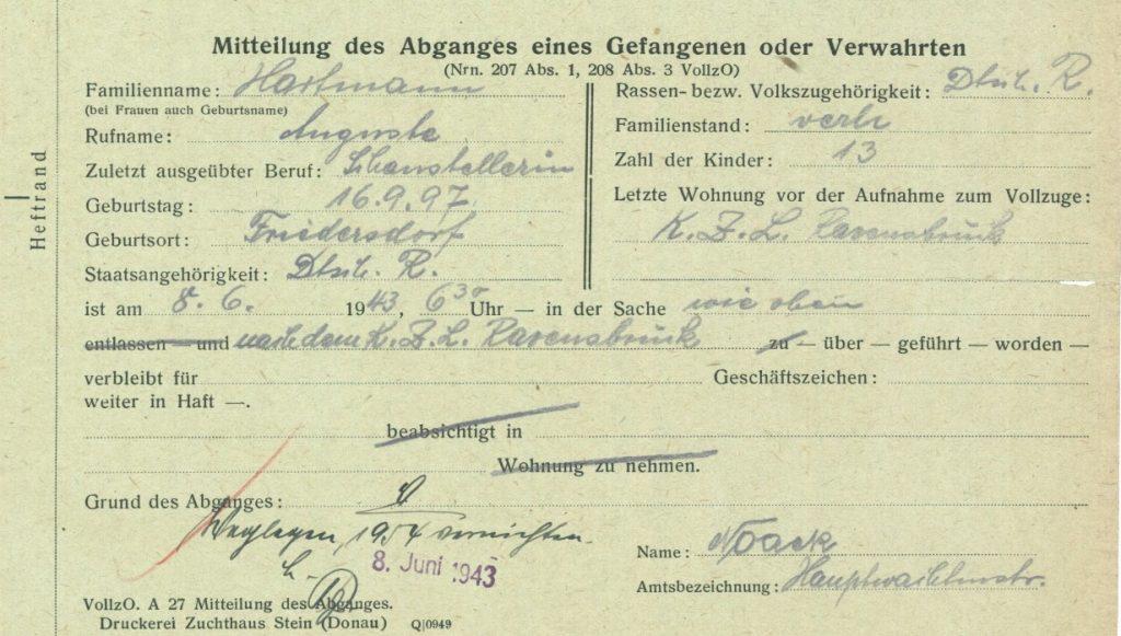 Ausschnitt des Schreibens des Gerichtsgefängnisses Luckenwalde an das Amtsgericht in Luckenwalde wegen Überführung von Auguste Hartmann in das KZ Ravensbrück, Luckenwalde 8. Juni