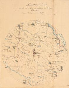 Kreisförmige Karte mit dem Ort Letschin in der Mitte
