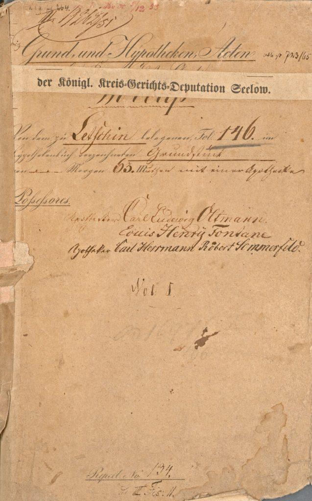 Grundakte zum Apothekengrundstück in Letschin von 1833