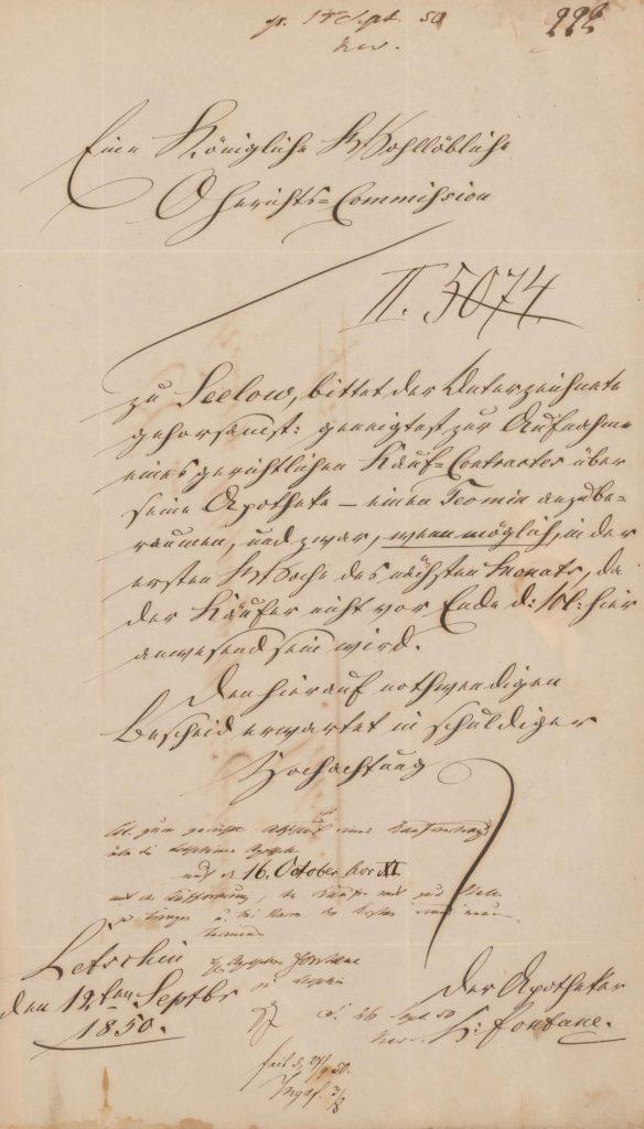Dokument über den Verkauf der Apotheke in Letschin an Hermann Sommerfeldt