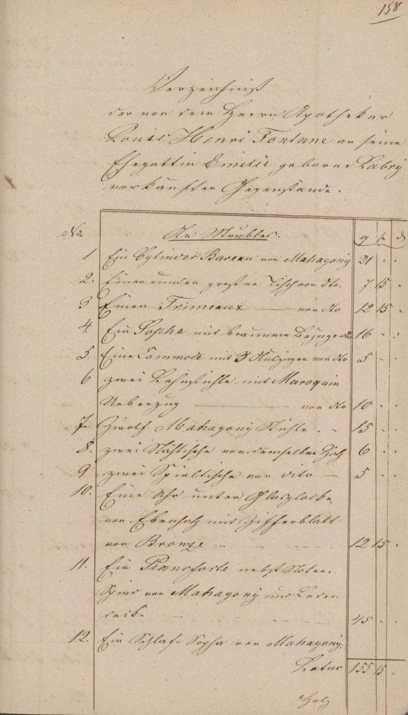Verzeichnis der von dem Apotheker Louis Henri Fontane an seine Ehegattin Emilie geborne Labry verkauften Gegenstände