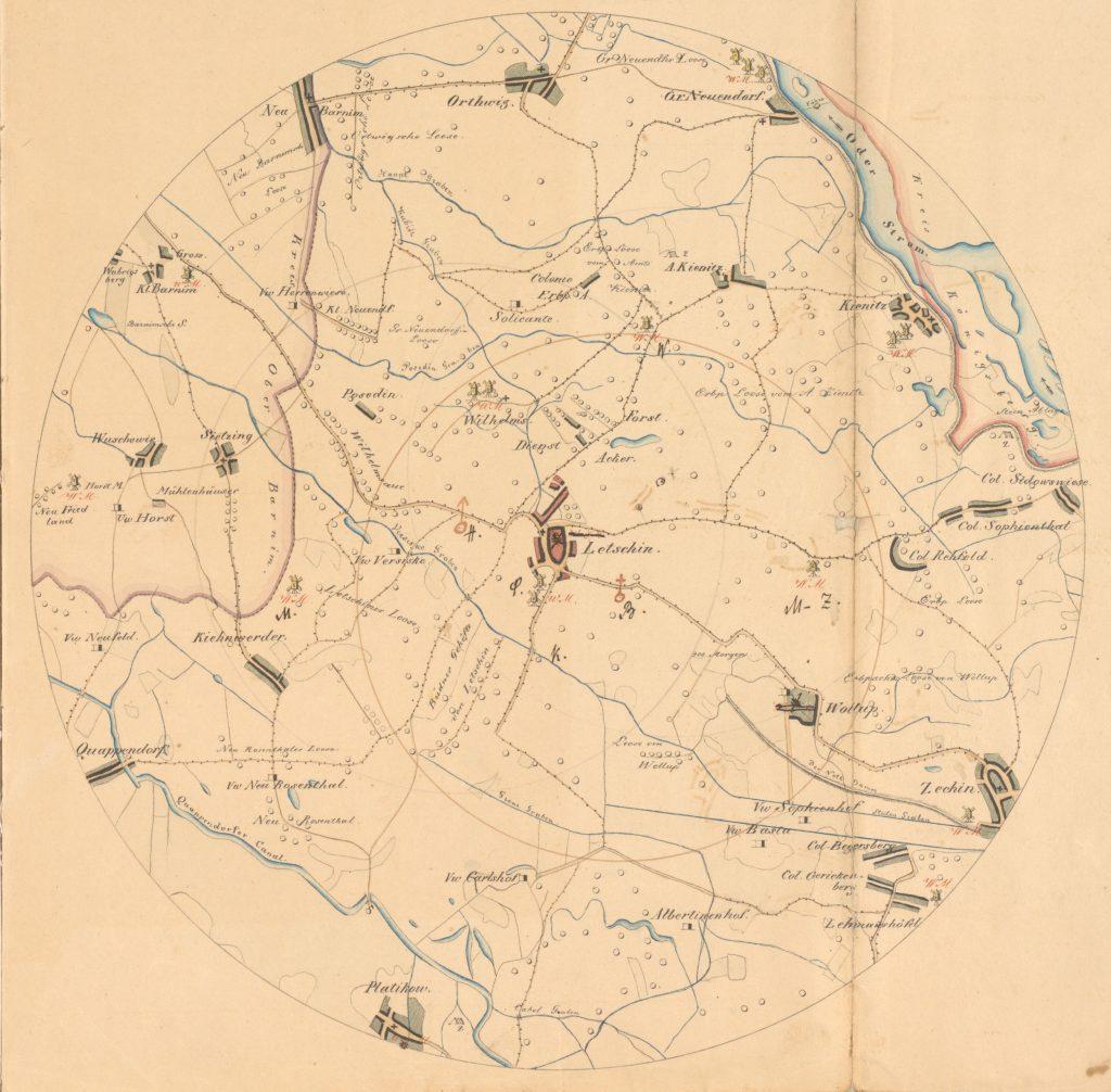 Kreisförmige Karte mit dem Dorf Letschin in der Mitte und Umgebung im Umkreis von einer preußischen Meile