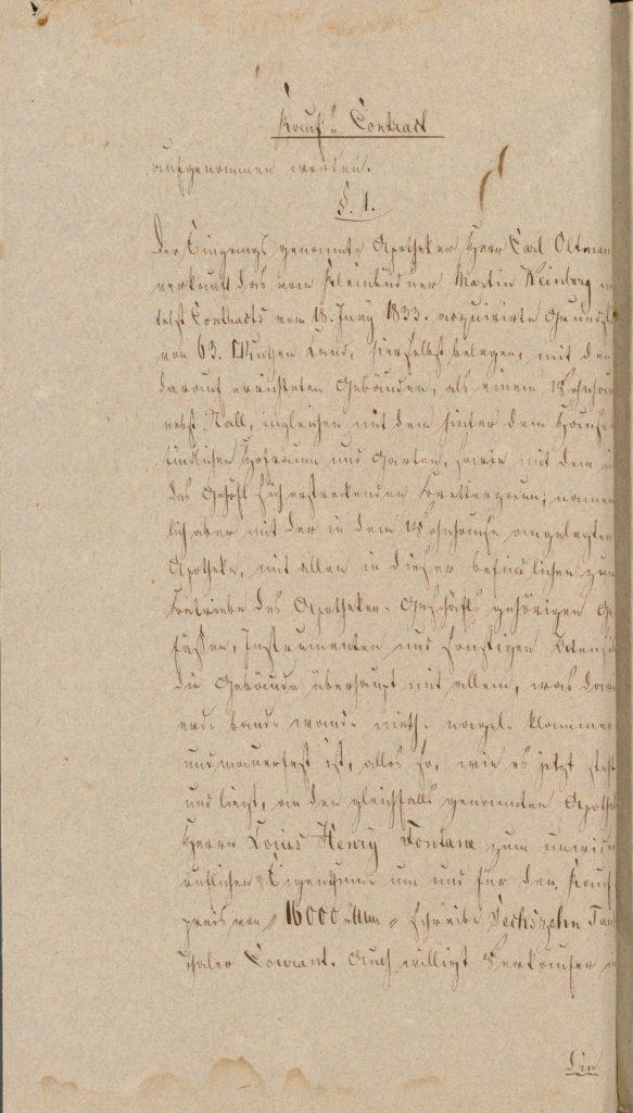Ein altes Dokument über den Kauf der Apotheke in Letschin