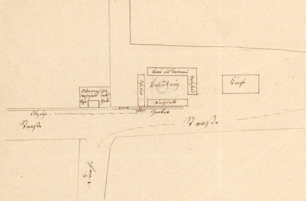 Kleine Karte eines Straßenabschnitts mit der Apotheke und des Gebäudes des Braukrugs in Letschin