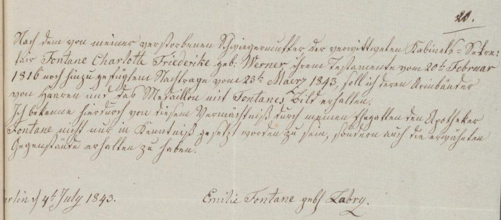 Dokument über Eigenhändige Empfangsbestätigung von Emilie Fontane für die ihr von Friederike Fontane vererbten Armbänder von Haaren und das Medaillon mit Fontanes Bild