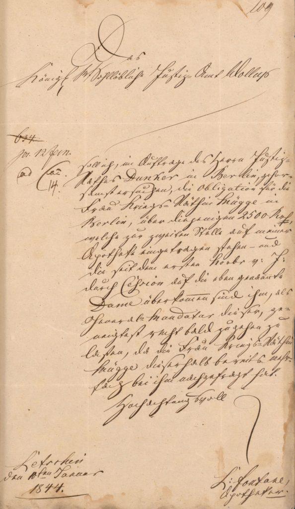 Dokument über eine Abtretung der Forderung von 2.500 Talern von den Erben der Friederike Fontane an die Kriegsrätin Mügge