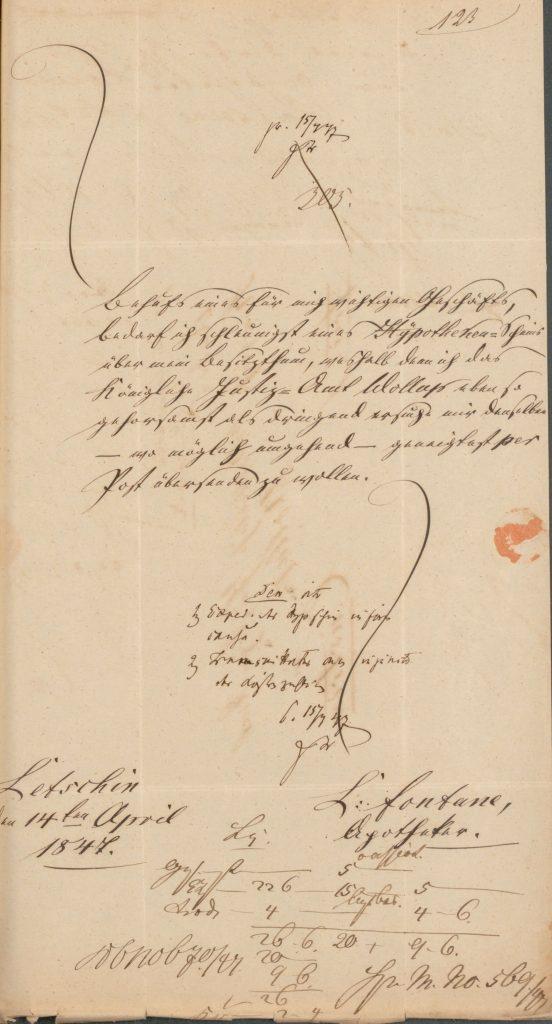 Dokument über ein Gesuch von Louis Fontane um Ausstellung eines Hypothekenscheins für einen wichtigen Geschäftsbedarf von 1847