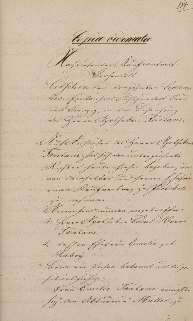 Dokument über den Verkauf der beweglichen Habe von Louis Fontane an seine Frau Emilie