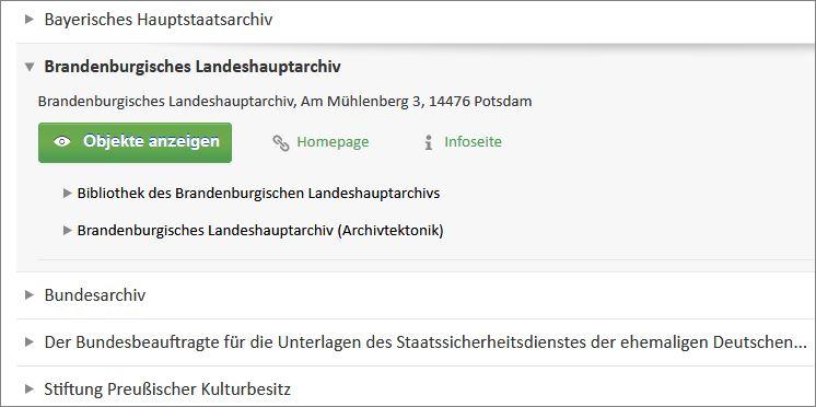 Ansicht der Verlinkung des Brandenburgischen Landeshauptarchivs im Archivportal-D
