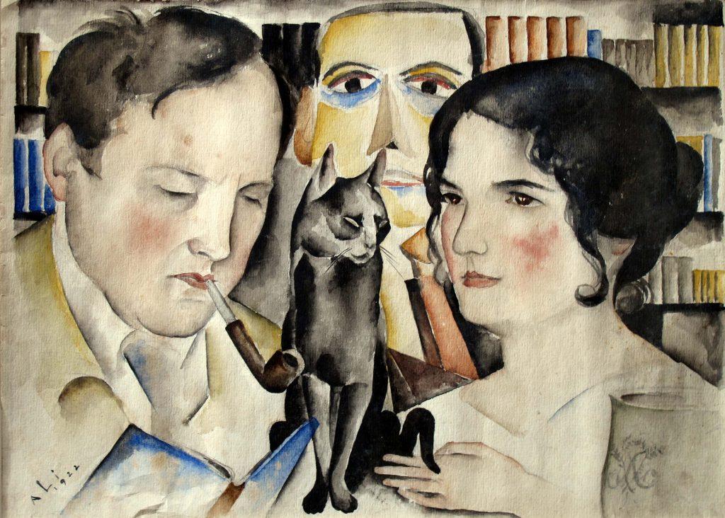 Aquarell von Ali Lichtenstein von 1922 zeigt Wilhelm und Gustel Fraenger