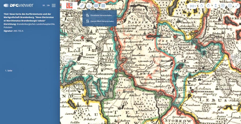 Ausschnitt der Neuen Karte des Kurfürstentums und der Markgrafschaft Brandenburg im DFG-Viewer