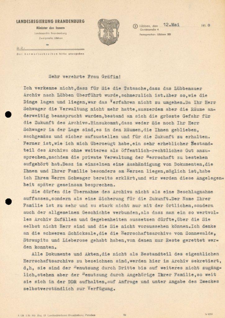 Erklärung der Brandenburger Landesregierung an die Gräfin zu Lynar wegen der Überführung des Herrschaftsarchivs von Lübbenau in das Landesarchiv Lübben