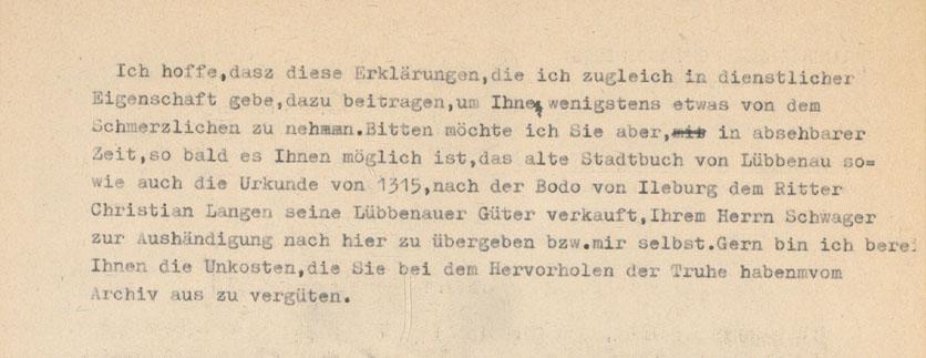 Teil 2 des Schreibens an die Gräfin zu Lynar zwecks Überführung des Herrschaftsarchivs nach Lübben