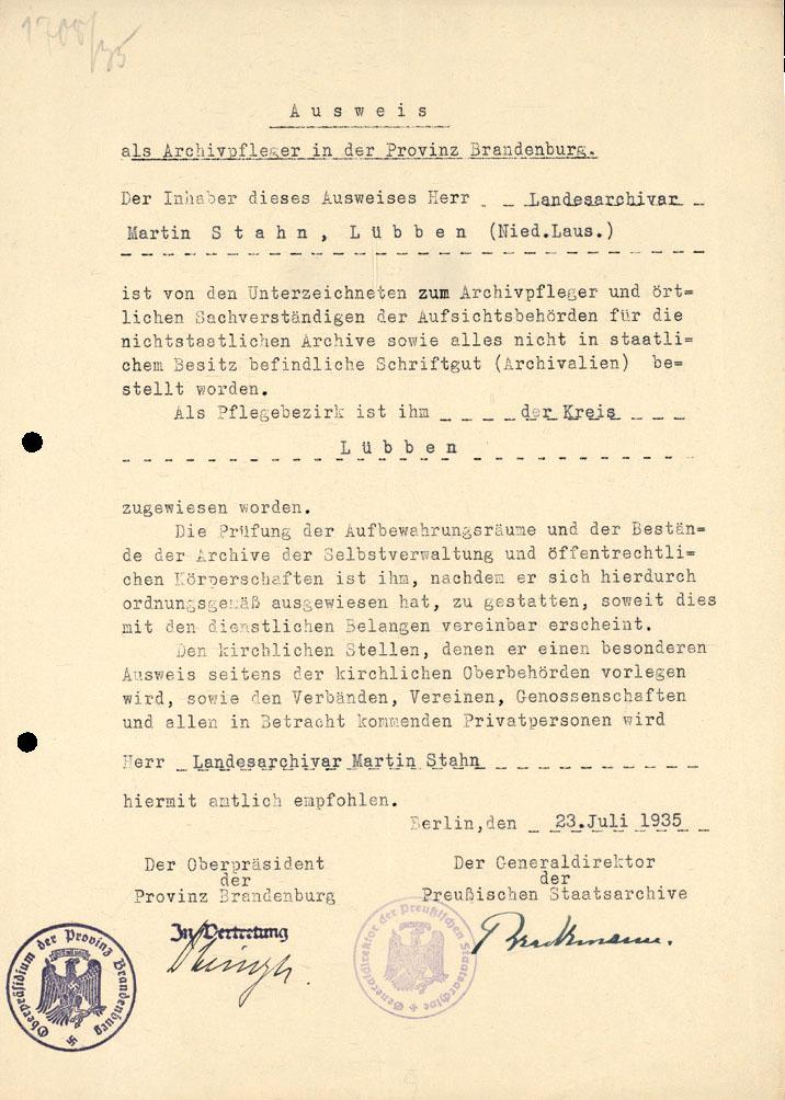 Ausweis für Martin Stahn aus Lübben als Archivpfleger in der Provinz Brandenburg aus dem Jahre 1935