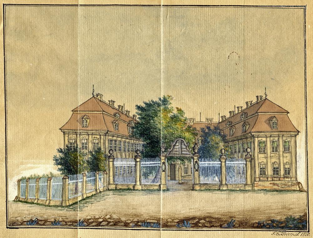 Handzeichnung des ständischen Landhauses in Lübben von Buchdrucker F. E. Driemel, 1820, BLHA, Rep. 103 Ansichten und Porträts Nr. 684 C