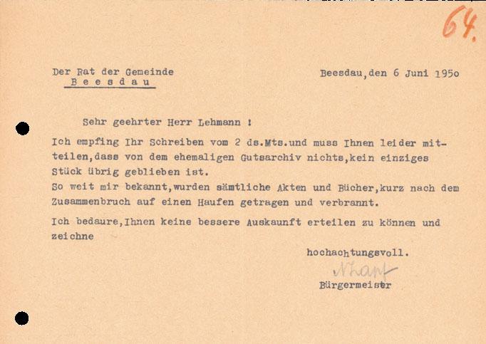Brief des Bürgermeisters Beesdaus an Dr. Lehmann über die Vernichtung sämtlicher Archivalien im ehemaligen Gutshaus von 1950
