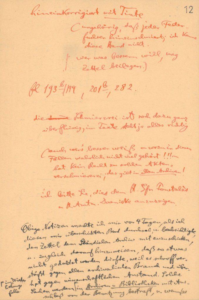 Auszug der Notizen von Dr. Woldemar Lippert