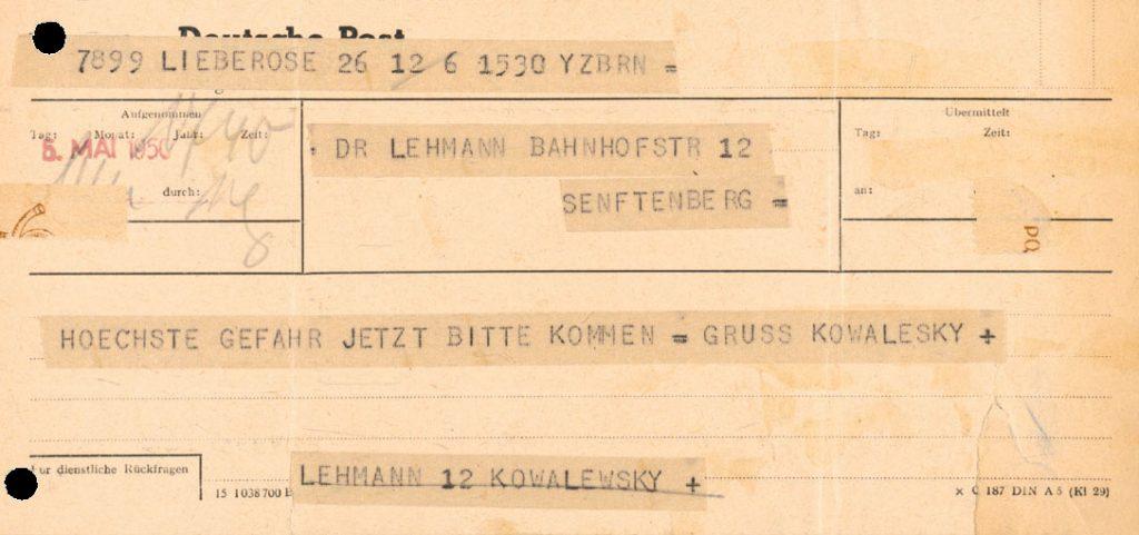 Telegramm des Lieberoser Pfarrers Kowalewsky an Dr. Lehmann wegen gefährderter Archivalien im Schloss Lieberose