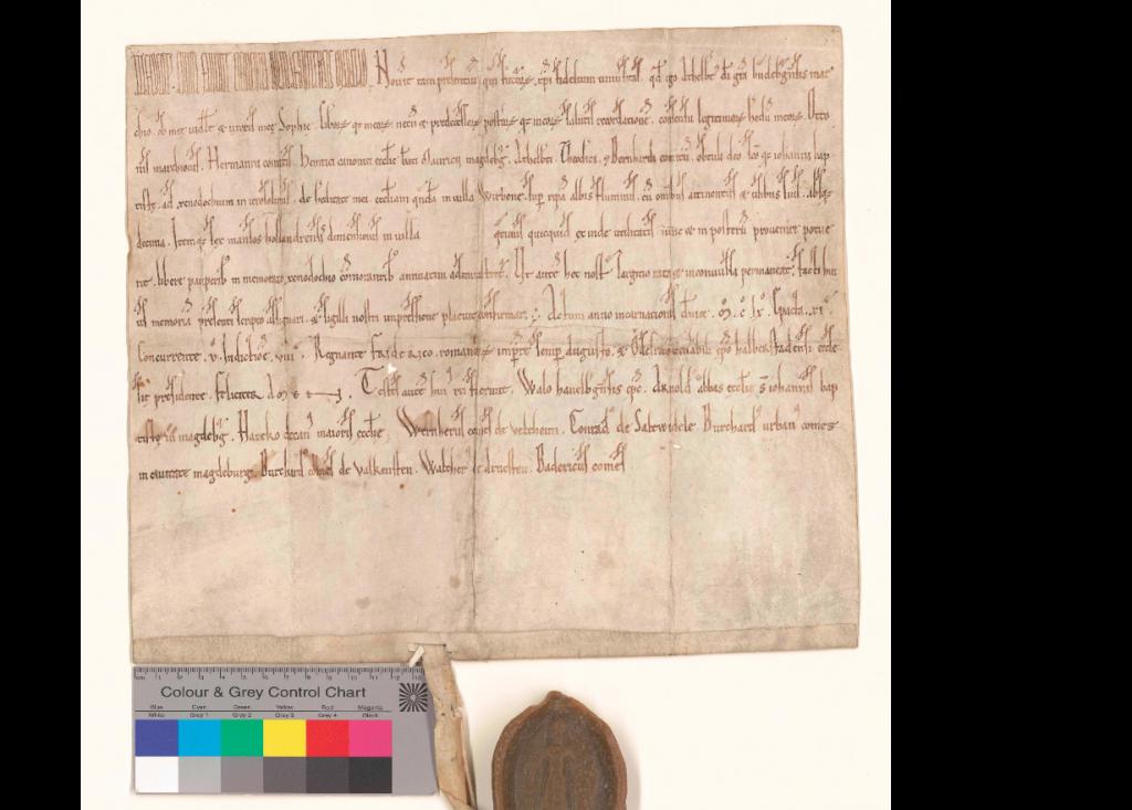 Die Urkunde von Albrecht dem Bären mit abgelöstem Siegel