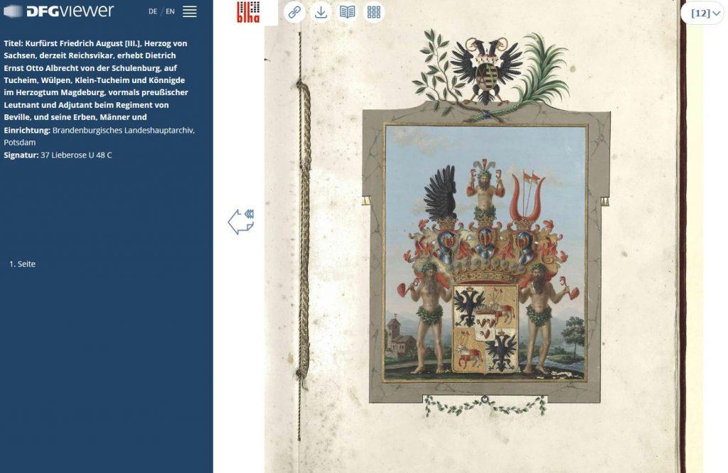 Grafendiplom von 1790 mit aufwendiger bunter Wappendarstellung