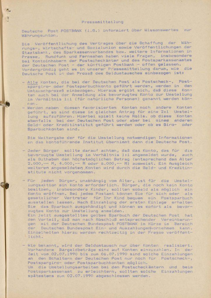 Dokument: Pressemitteilung der Deutschen Post