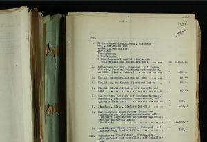 Dokument mit AUfstellung von Möbeln und Kunst aus dem Hause Paul Kempner