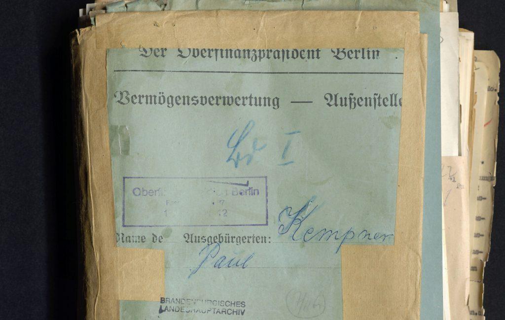 """Original-Aktendeckel aus der """"Vermögensverwertungsstelle"""" zu Paul Kempner"""