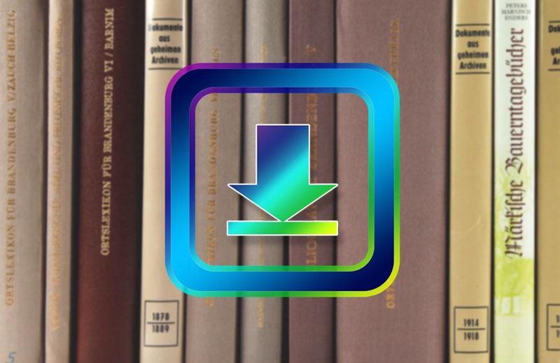 Buntes Downloadsymbol vor einer Reihe von Büchern; Link führt zum Beitrag